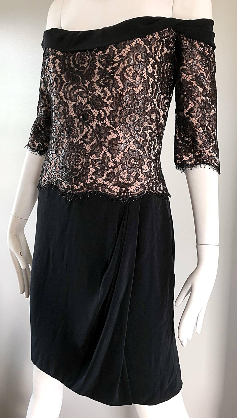 Vintage Bob Mackie Size 14 Black + Nude Lace Crepe Off - Shoulder 1990s Dress 4