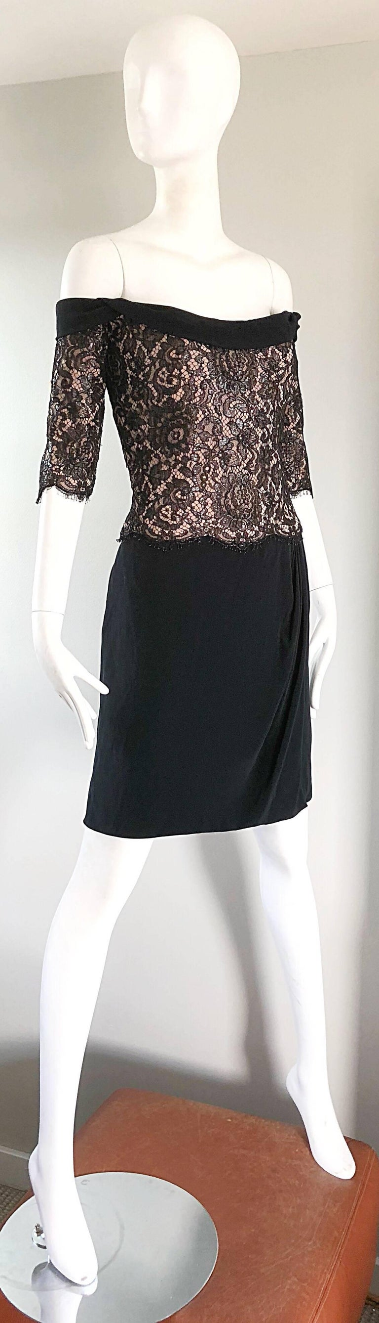 Vintage Bob Mackie Size 14 Black + Nude Lace Crepe Off - Shoulder 1990s Dress 5