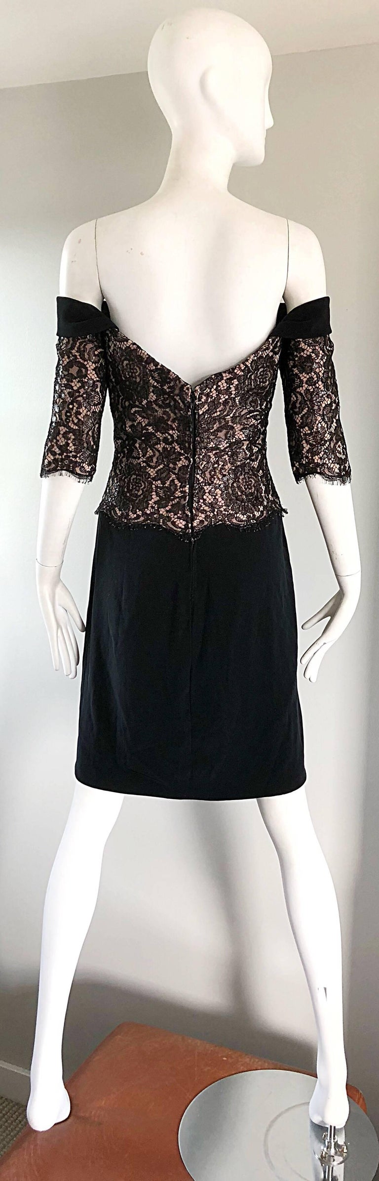 Vintage Bob Mackie Size 14 Black + Nude Lace Crepe Off - Shoulder 1990s Dress 6