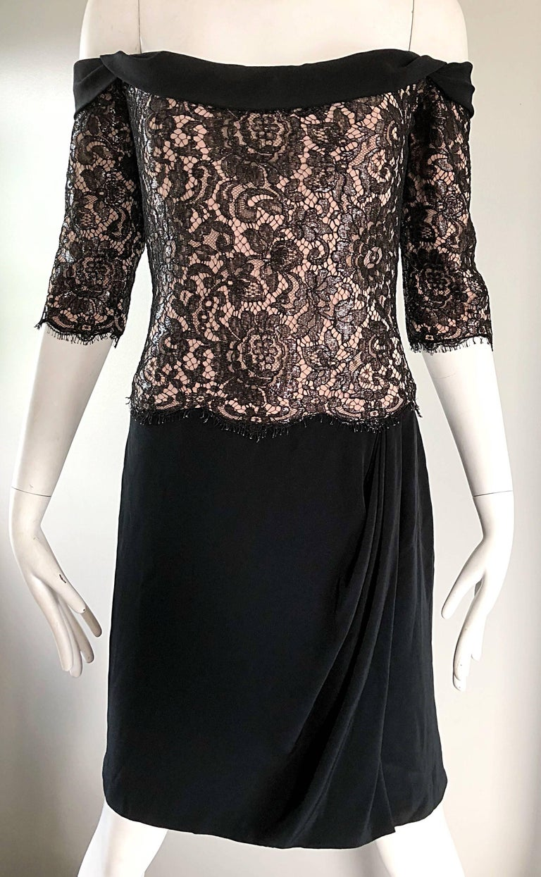 Vintage Bob Mackie Size 14 Black + Nude Lace Crepe Off - Shoulder 1990s Dress 7