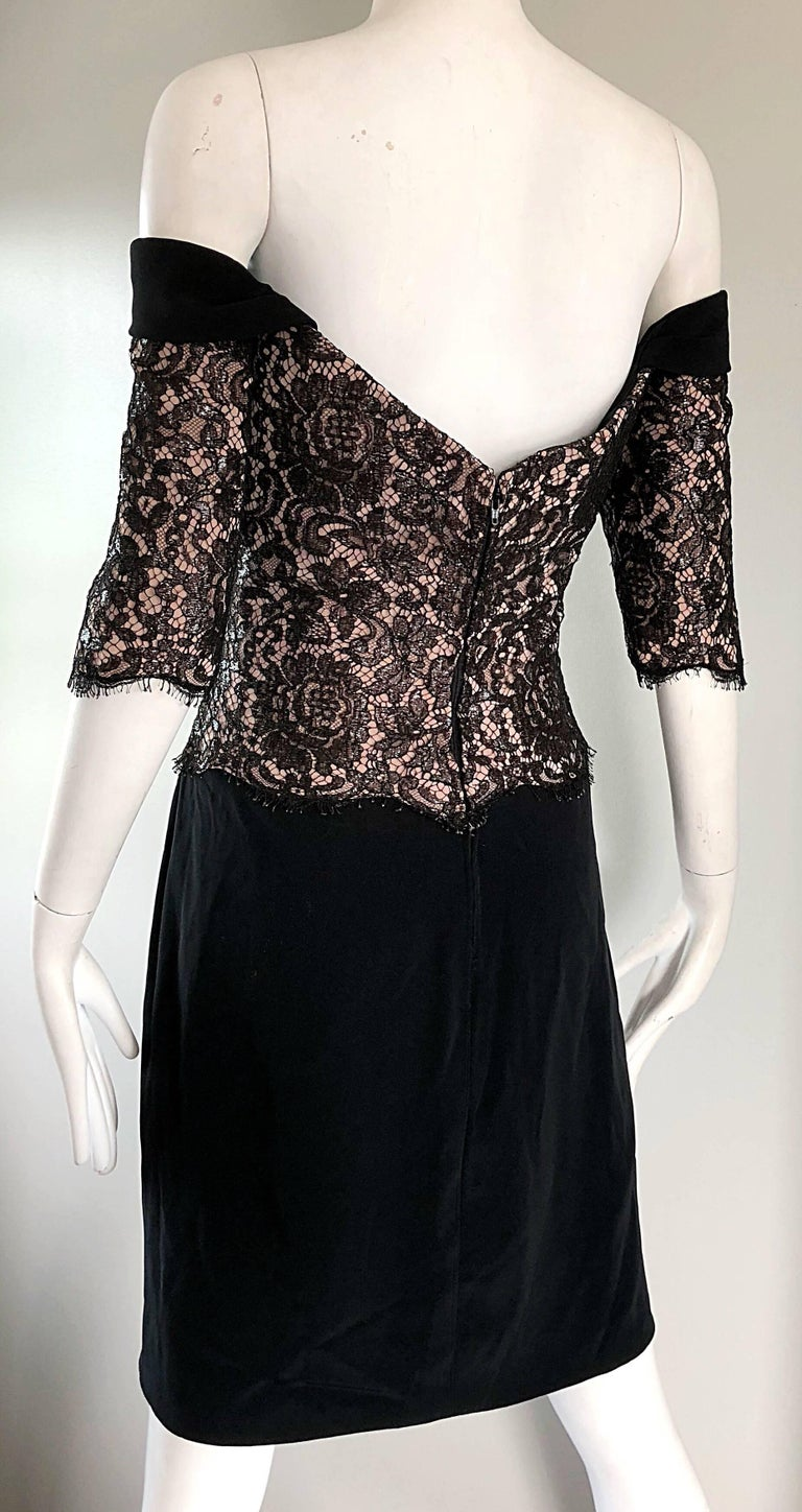 Vintage Bob Mackie Size 14 Black + Nude Lace Crepe Off - Shoulder 1990s Dress 8