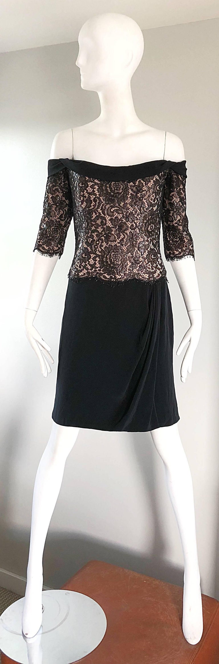 Vintage Bob Mackie Size 14 Black + Nude Lace Crepe Off - Shoulder 1990s Dress 9