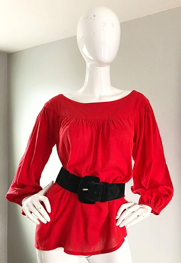 1970s Yves Saint Laurent Russian Collection Lipstick Red Boho Peasant Blouse Top In Excellent Condition For Sale In Chicago, IL