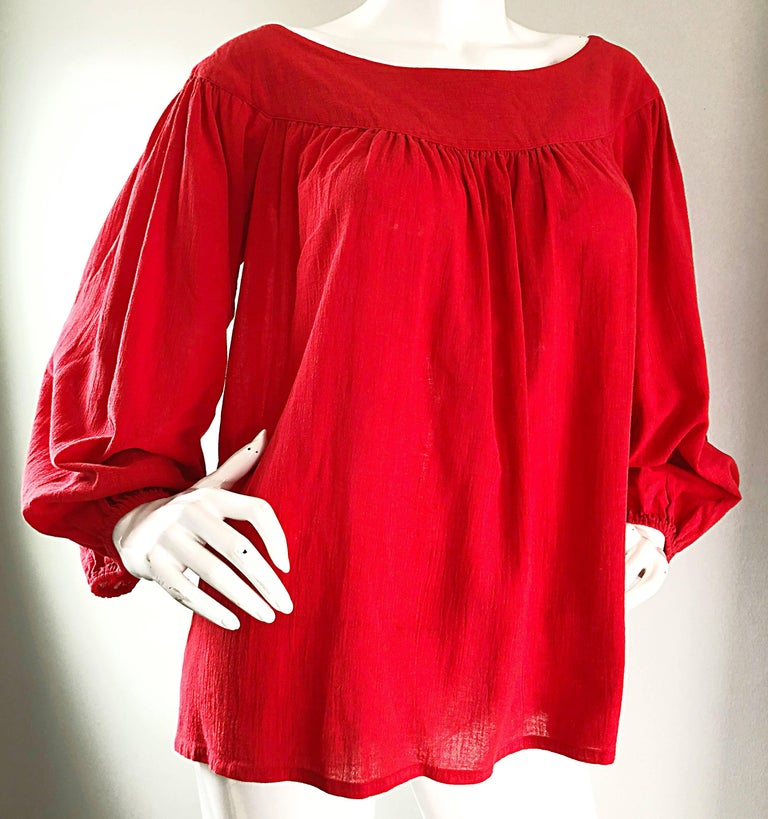 Women's 1970s Yves Saint Laurent Russian Collection Lipstick Red Boho Peasant Blouse Top For Sale