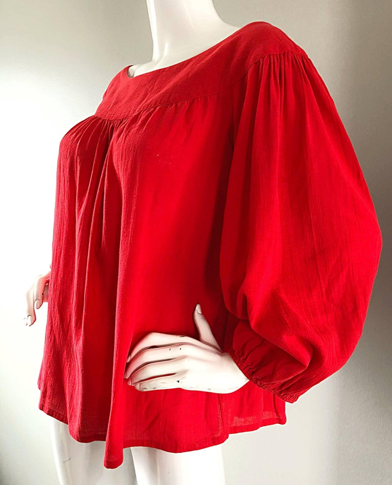 1970s Yves Saint Laurent Russian Collection Lipstick Red Boho Peasant Blouse Top For Sale 1