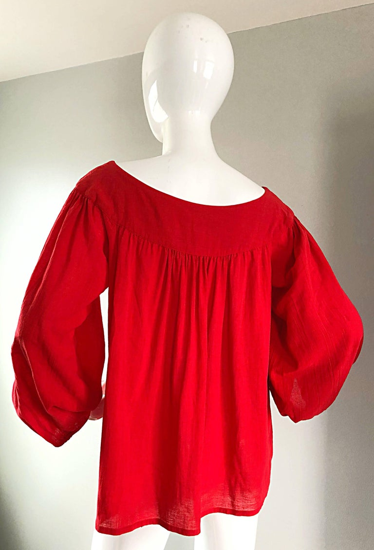 1970s Yves Saint Laurent Russian Collection Lipstick Red Boho Peasant Blouse Top For Sale 2
