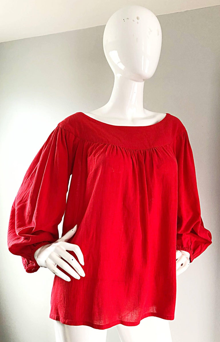 1970s Yves Saint Laurent Russian Collection Lipstick Red Boho Peasant Blouse Top For Sale 3