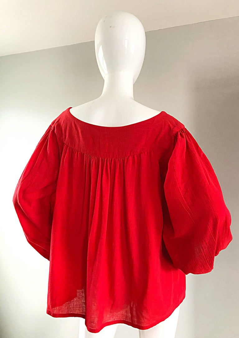 1970s Yves Saint Laurent Russian Collection Lipstick Red Boho Peasant Blouse Top For Sale 4