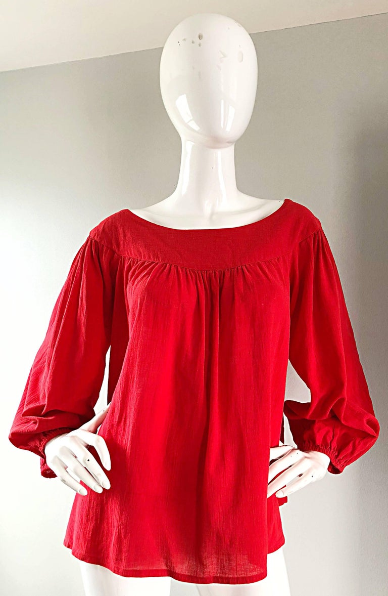 1970s Yves Saint Laurent Russian Collection Lipstick Red Boho Peasant Blouse Top For Sale 5