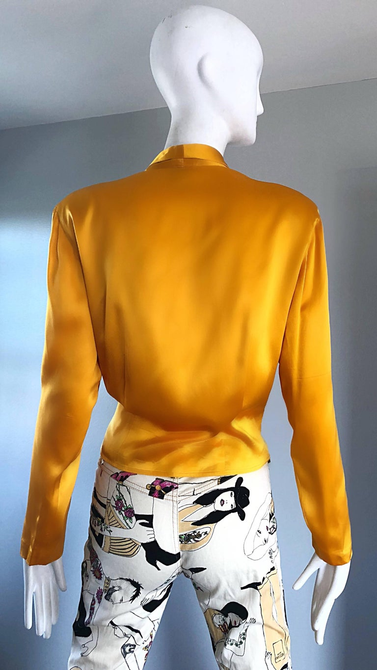 Women's Vintage Christian Dior 1990s Yellow Marigold Size 10 Silk Long Sleeve Blouse Top