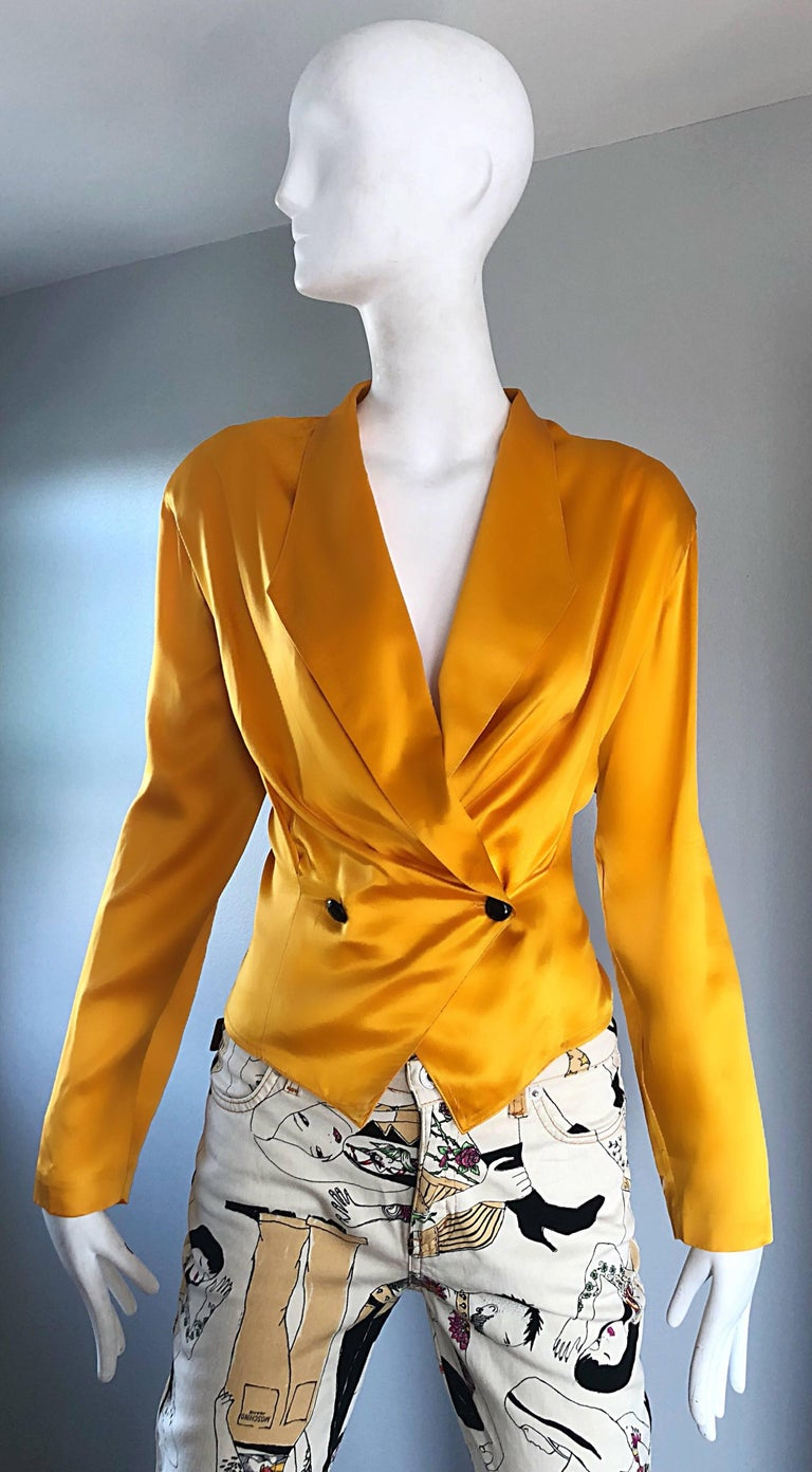 Vintage Christian Dior 1990s Yellow Marigold Size 10 Silk Long Sleeve Blouse Top 2