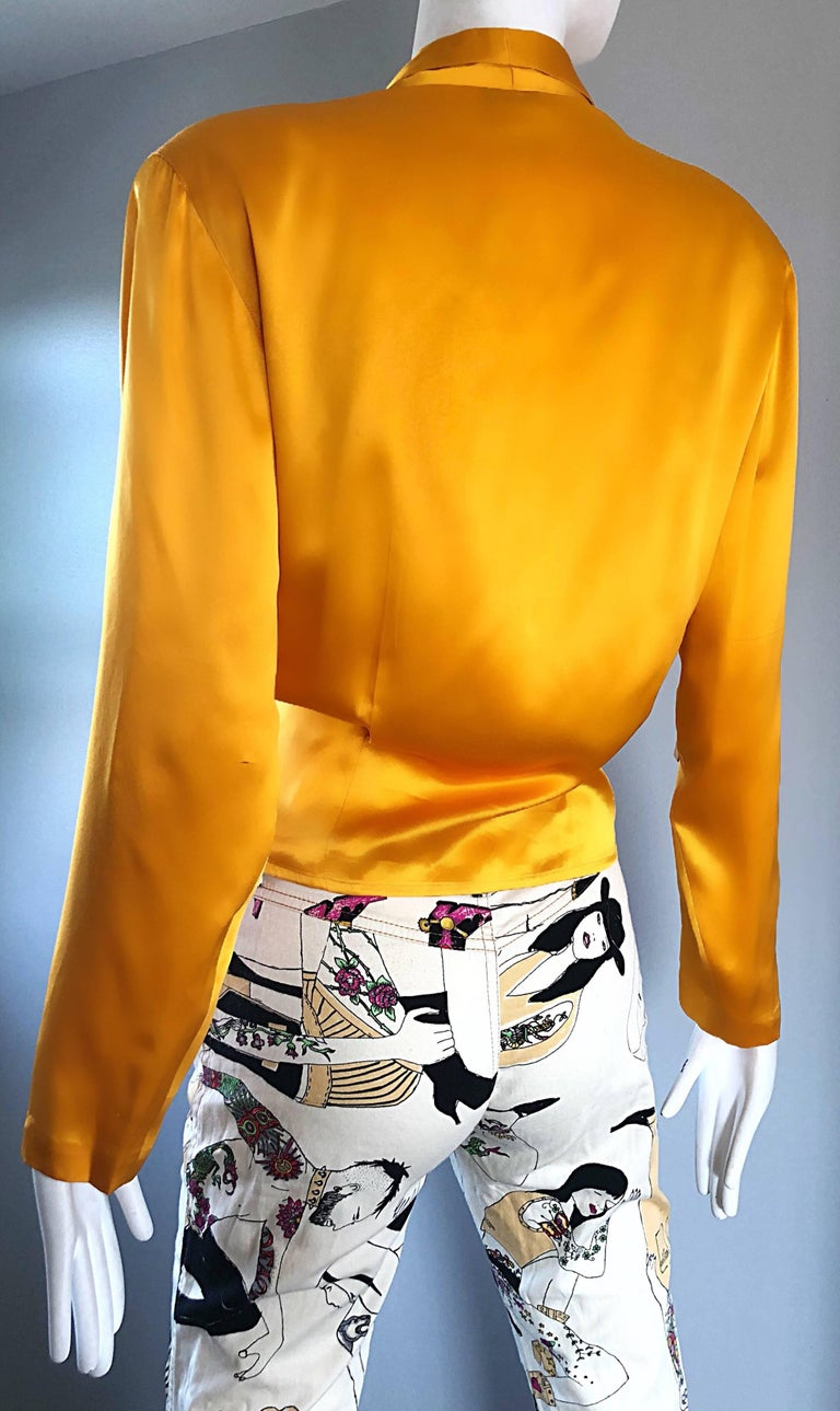 Vintage Christian Dior 1990s Yellow Marigold Size 10 Silk Long Sleeve Blouse Top 3