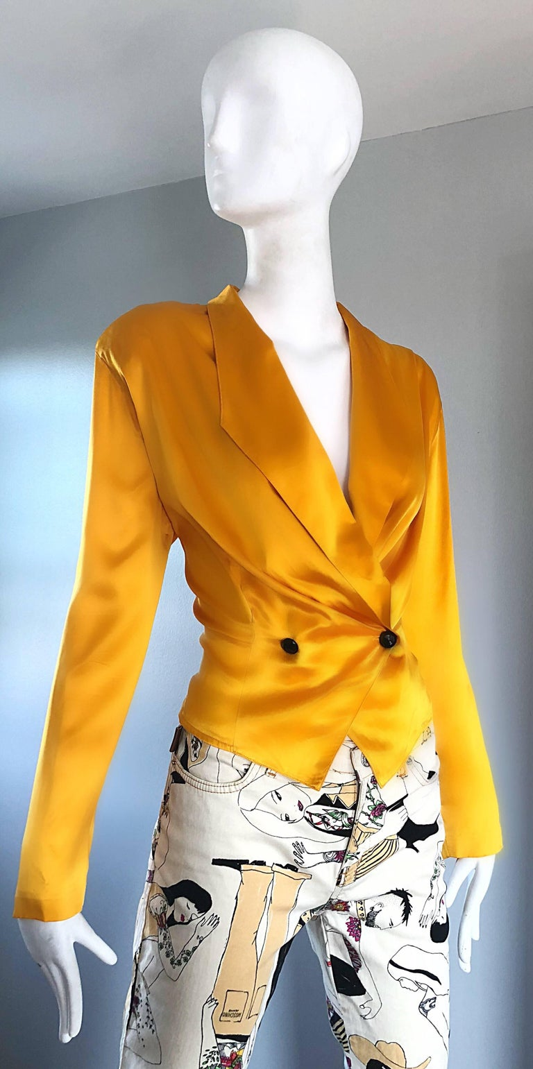 0c7f418e8ea Vintage Christian Dior 1990s Yellow Marigold Size 10 Silk Long Sleeve  Blouse Top For Sale 4