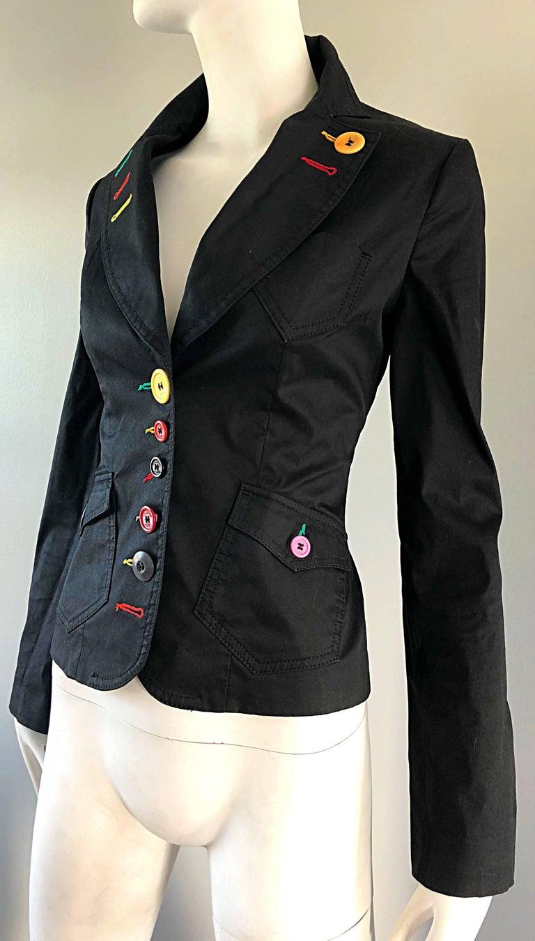 Vintage Moschino 1990s Black Stylish Rainbow Buttons