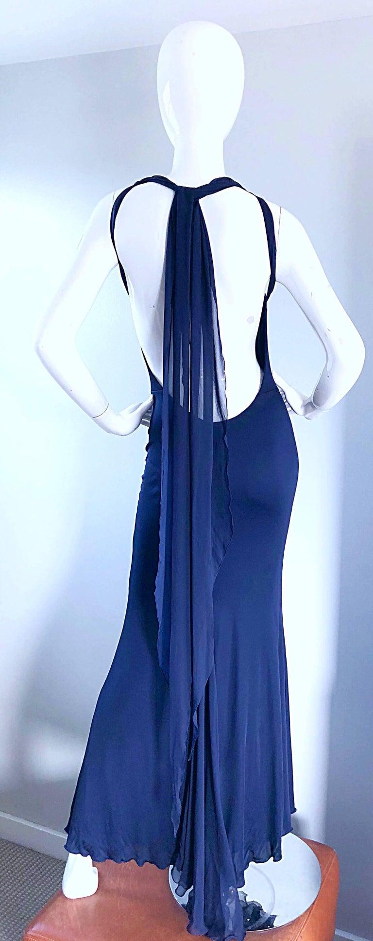 b09b131dd3 Women s Bill Blass Vintage Silk Jersey and Chiffon Navy Blue Purple Grecian  Evening Gown For Sale