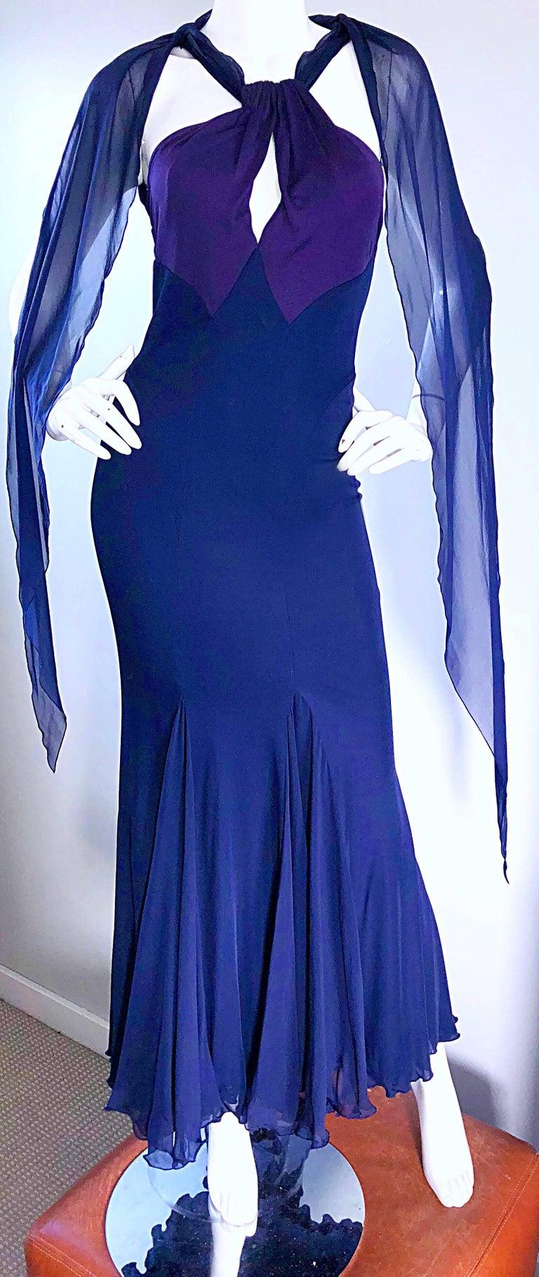7aa45679d0 Bill Blass Vintage Silk Jersey and Chiffon Navy Blue Purple Grecian Evening  Gown For Sale 2