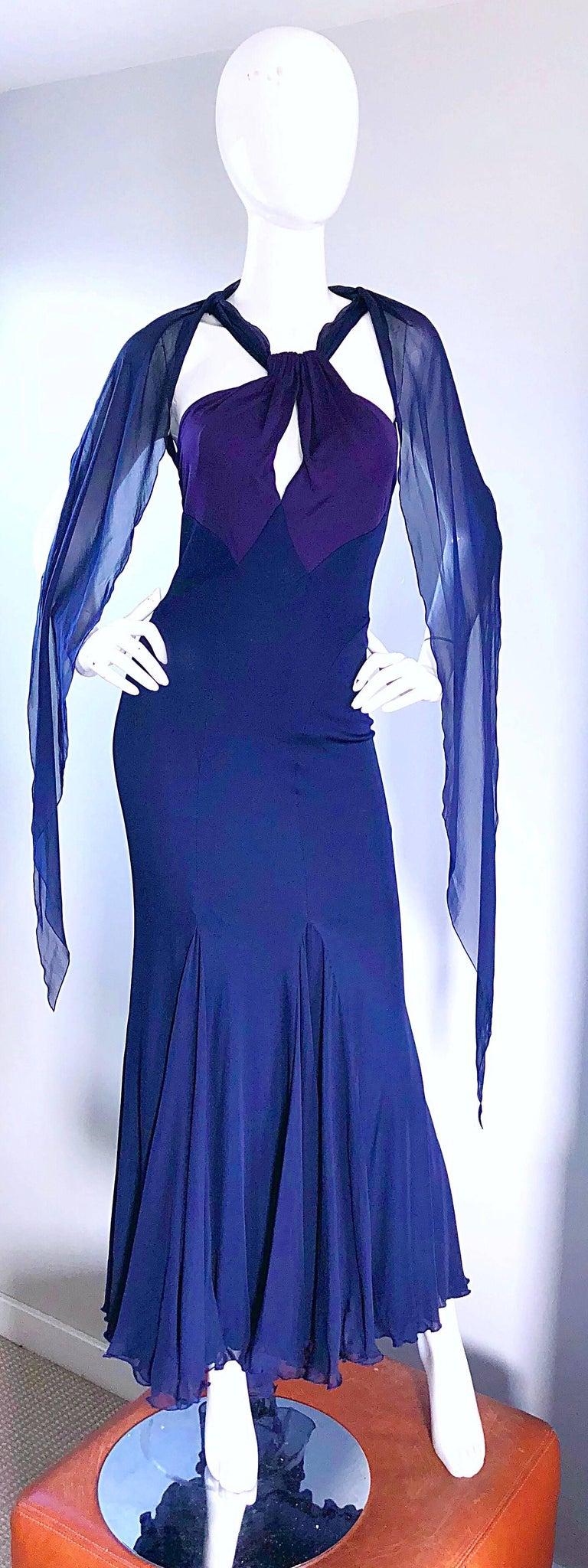 Bill Blass Vintage Silk Jersey and Chiffon Navy Blue Purple Grecian Evening Gown For Sale 3