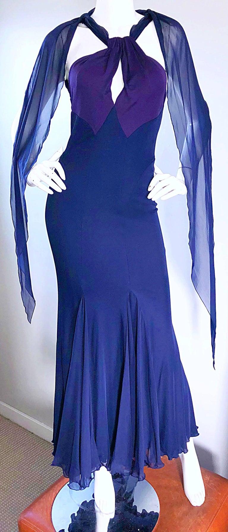 Bill Blass Vintage Silk Jersey and Chiffon Navy Blue Purple Grecian Evening Gown For Sale 4
