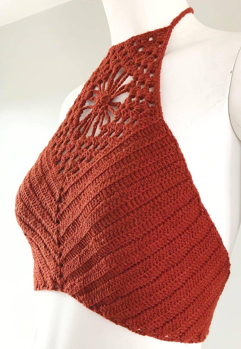 Burnt Orange Hand Crochet Vintage Wool Crop Top Flower Boho Shirt, 1970s   For Sale 1
