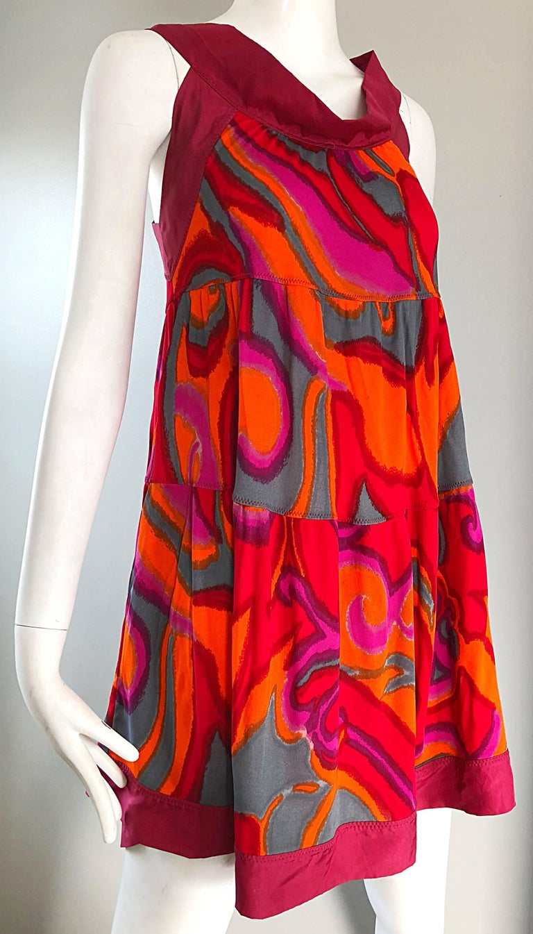 Missoni 1990s Hot Pink Neon Orange Gray Silk Jersey