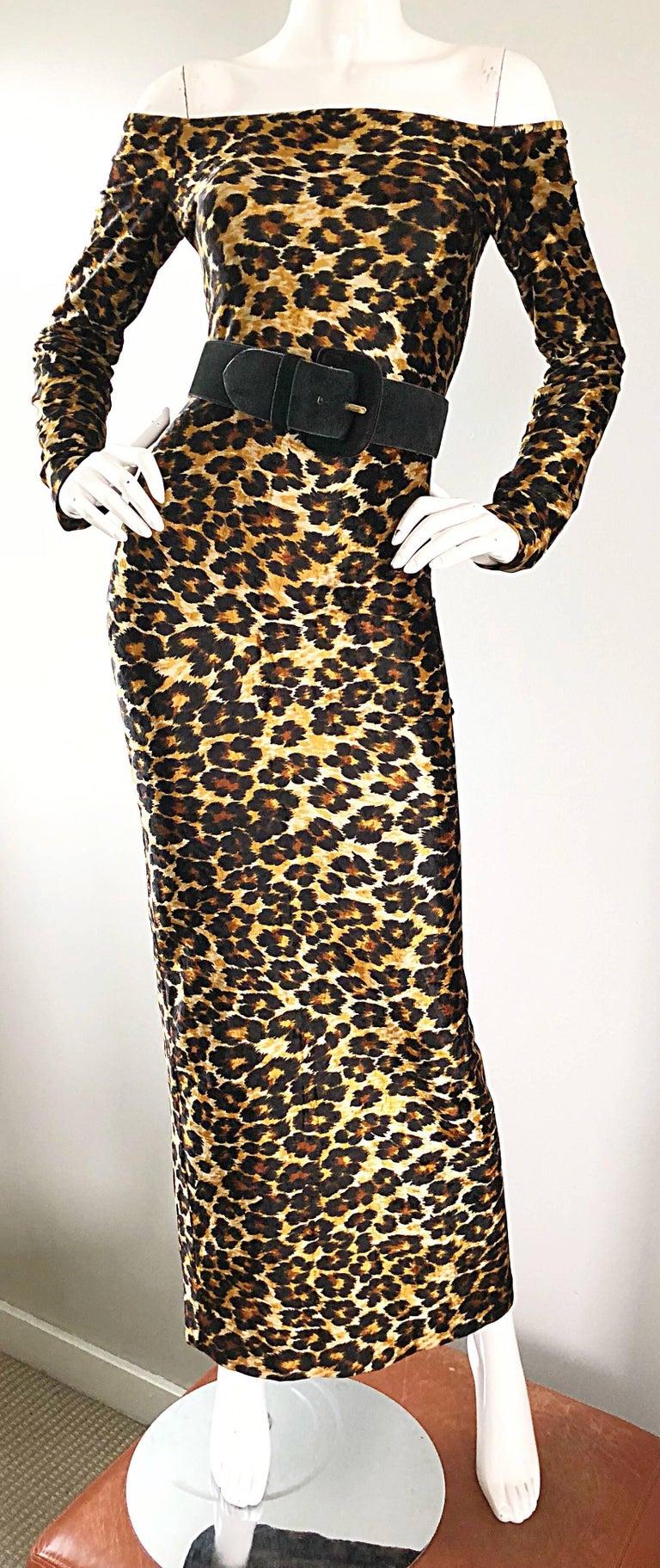 Patrick Kelly Vintage Sexy Leopard Print Off Shoulder