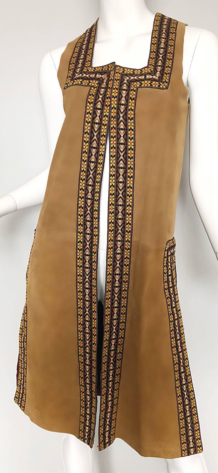 Chic 1970s Tan Suede Leather Embroidered 70s Vintage Boho