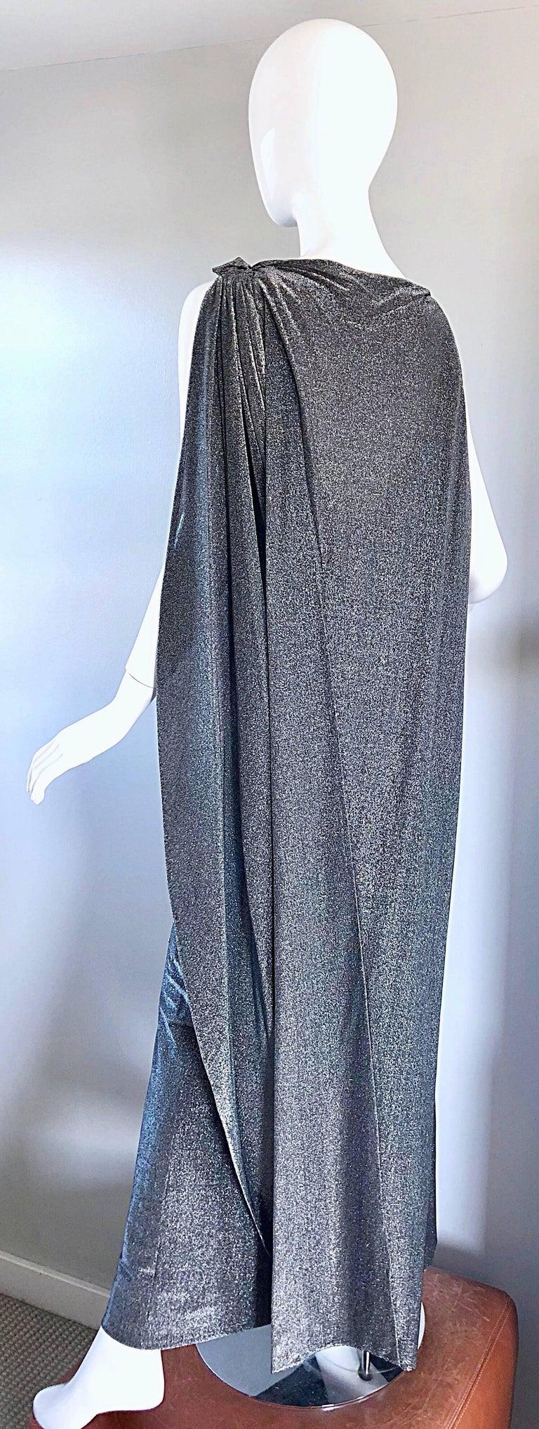 Gray Geoffrey Beene 1960s Gunmetal Metallic Silk Lurex Rhinestone Vintage Cape Gown For Sale