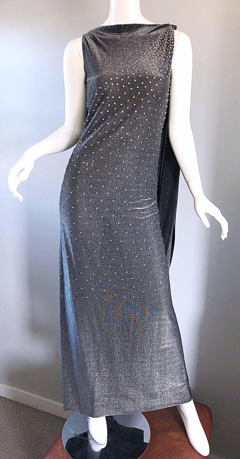 Geoffrey Beene 1960s Gunmetal Metallic Silk Lurex Rhinestone Vintage Cape Gown For Sale 1