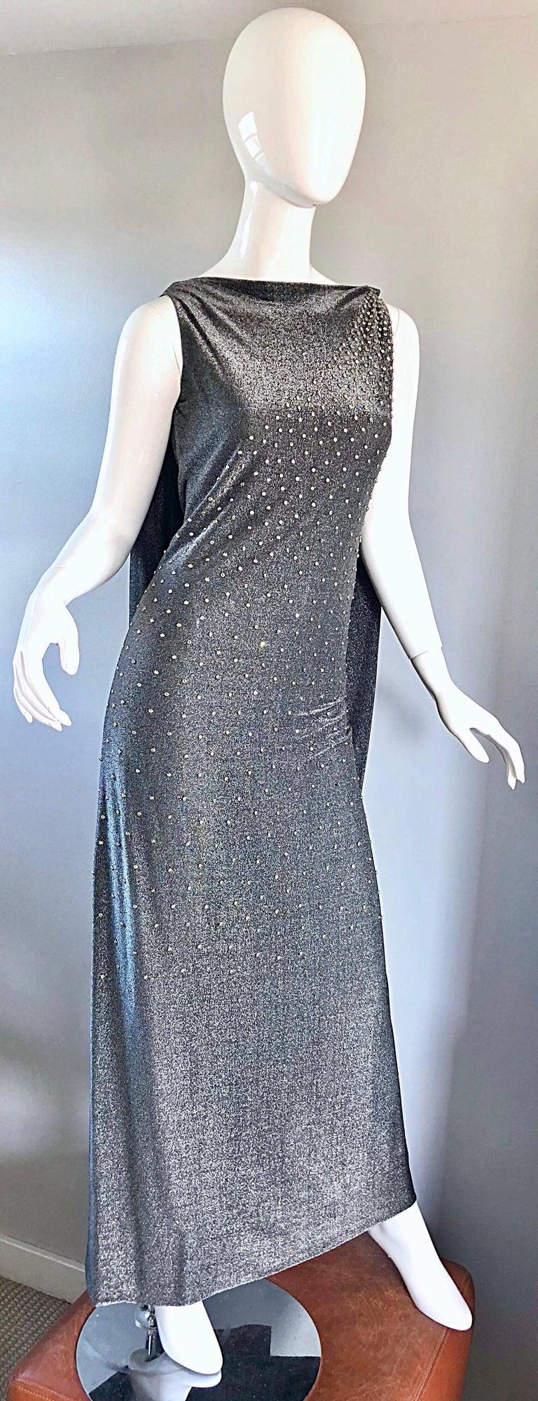 Geoffrey Beene 1960s Gunmetal Metallic Silk Lurex Rhinestone Vintage Cape Gown For Sale 2