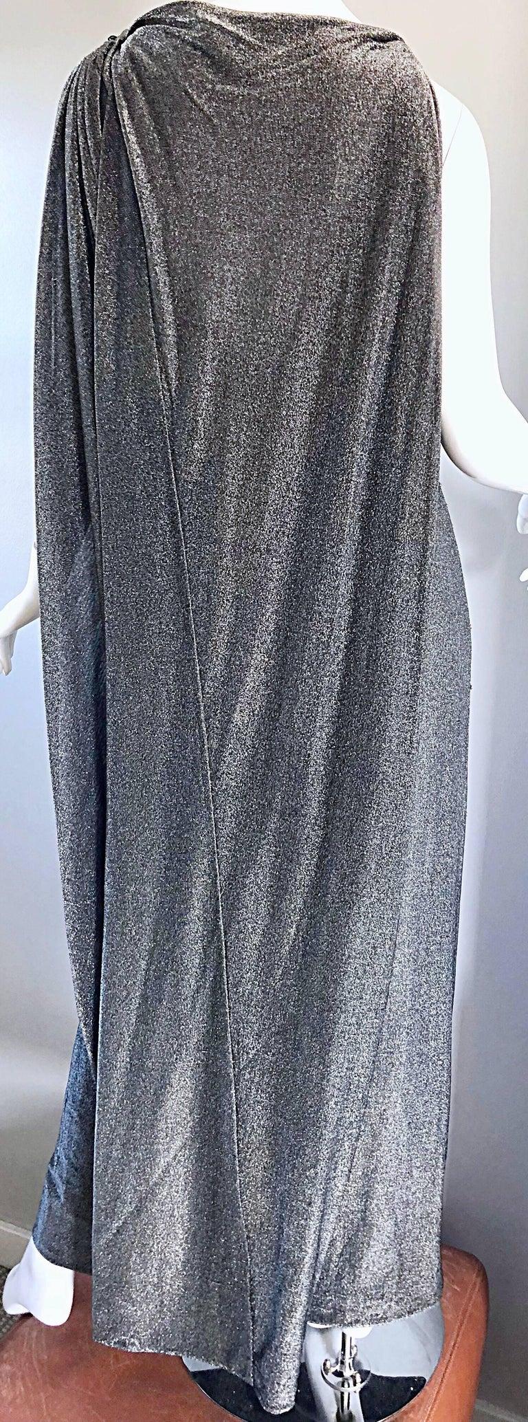 Geoffrey Beene 1960s Gunmetal Metallic Silk Lurex Rhinestone Vintage Cape Gown For Sale 3