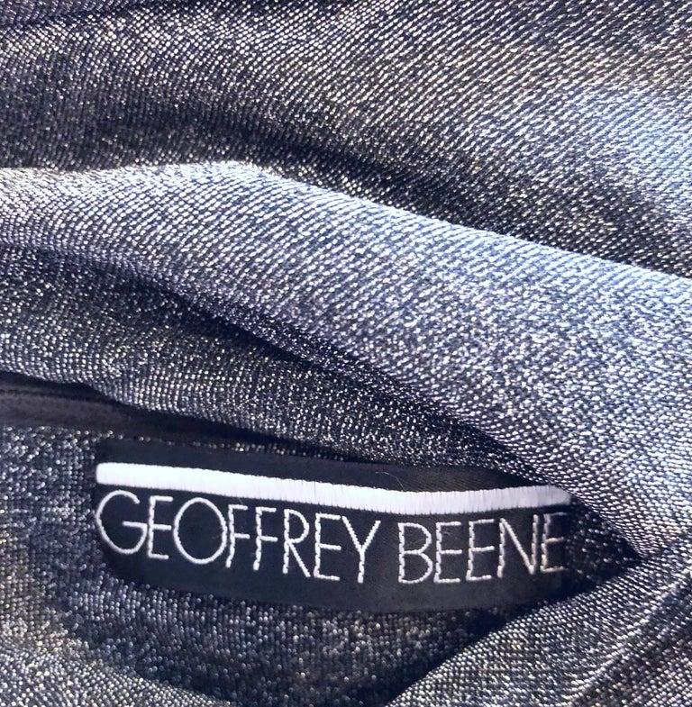 Geoffrey Beene 1960s Gunmetal Metallic Silk Lurex Rhinestone Vintage Cape Gown For Sale 5
