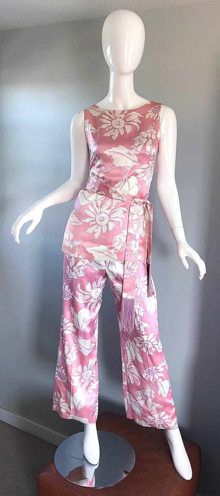 Beige Geoffrey Beene Vintage 1970s Pink + White Four Piece Silk Pants Top Belt & Shawl For Sale