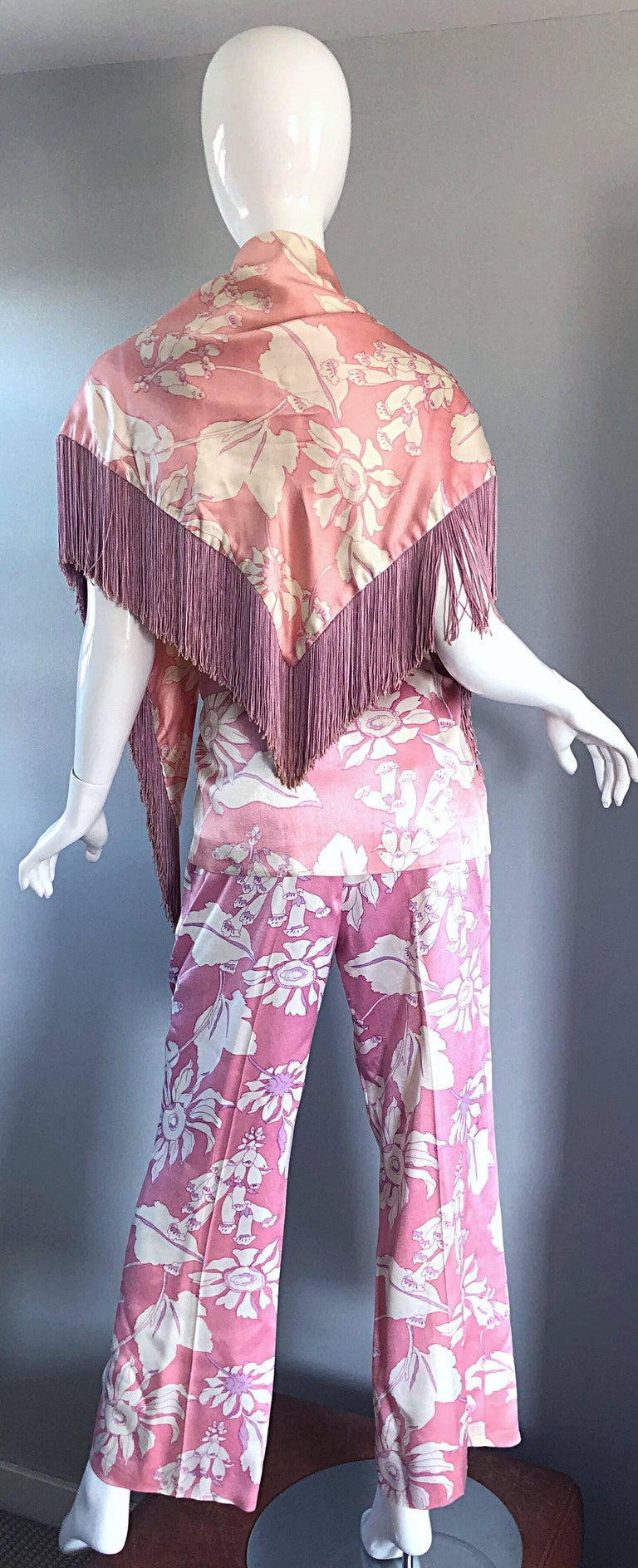 Geoffrey Beene Vintage 1970s Pink + White Four Piece Silk Pants Top Belt & Shawl In Excellent Condition For Sale In Chicago, IL
