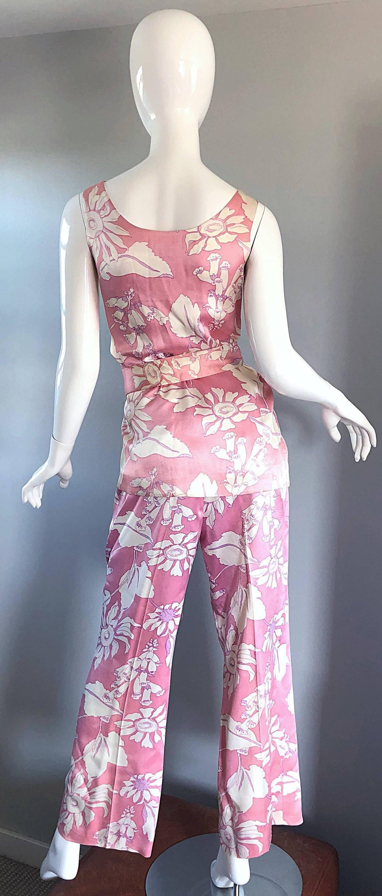 Women's Geoffrey Beene Vintage 1970s Pink + White Four Piece Silk Pants Top Belt & Shawl For Sale