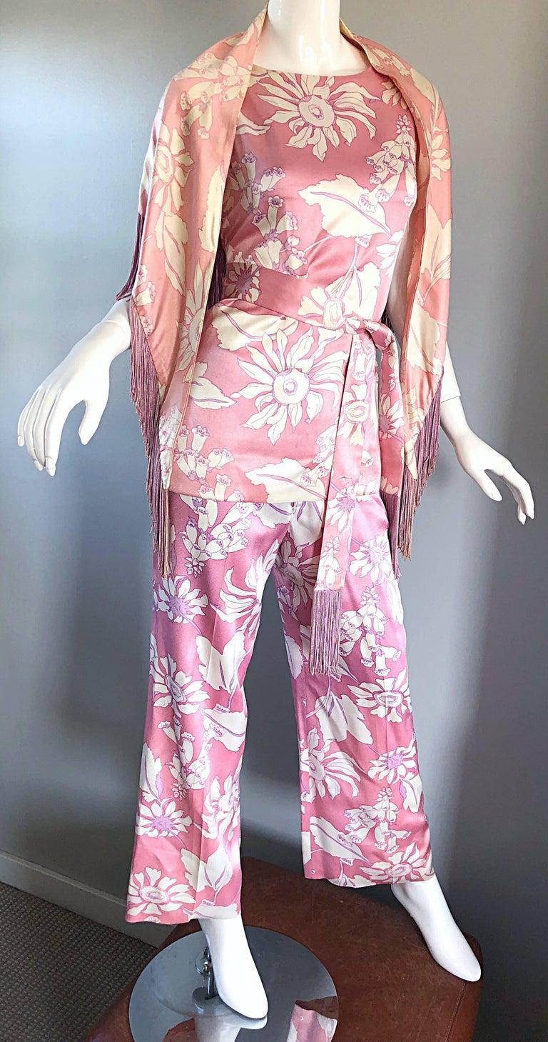 Geoffrey Beene Vintage 1970s Pink + White Four Piece Silk Pants Top Belt & Shawl For Sale 1