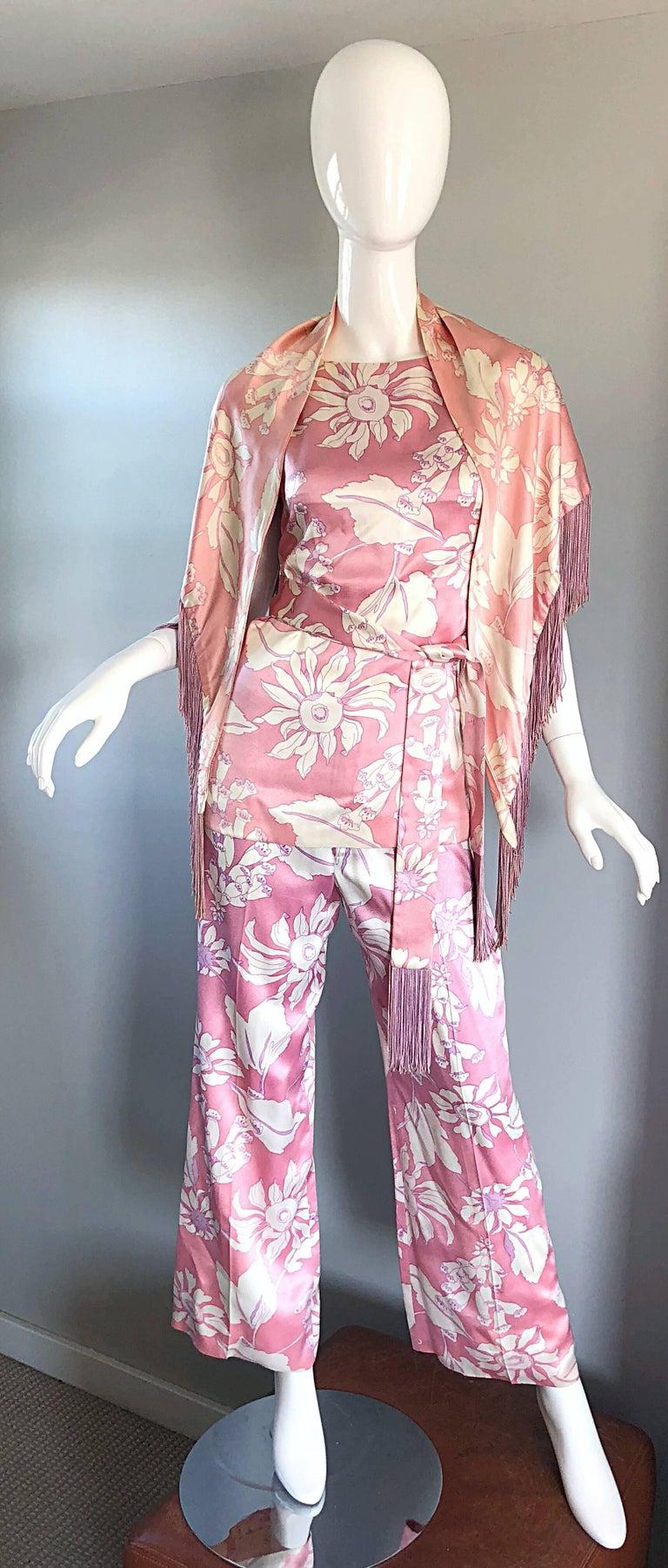 Geoffrey Beene Vintage 1970s Pink + White Four Piece Silk Pants Top Belt & Shawl For Sale 4