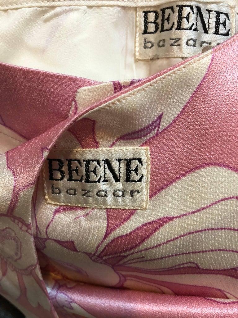 Geoffrey Beene Vintage 1970s Pink + White Four Piece Silk Pants Top Belt & Shawl For Sale 5