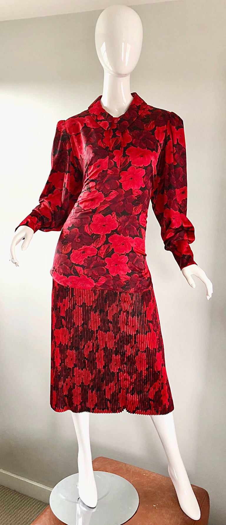 Vintage NIna Ricci Size 14 / 16 Red Black Flapper Style ...