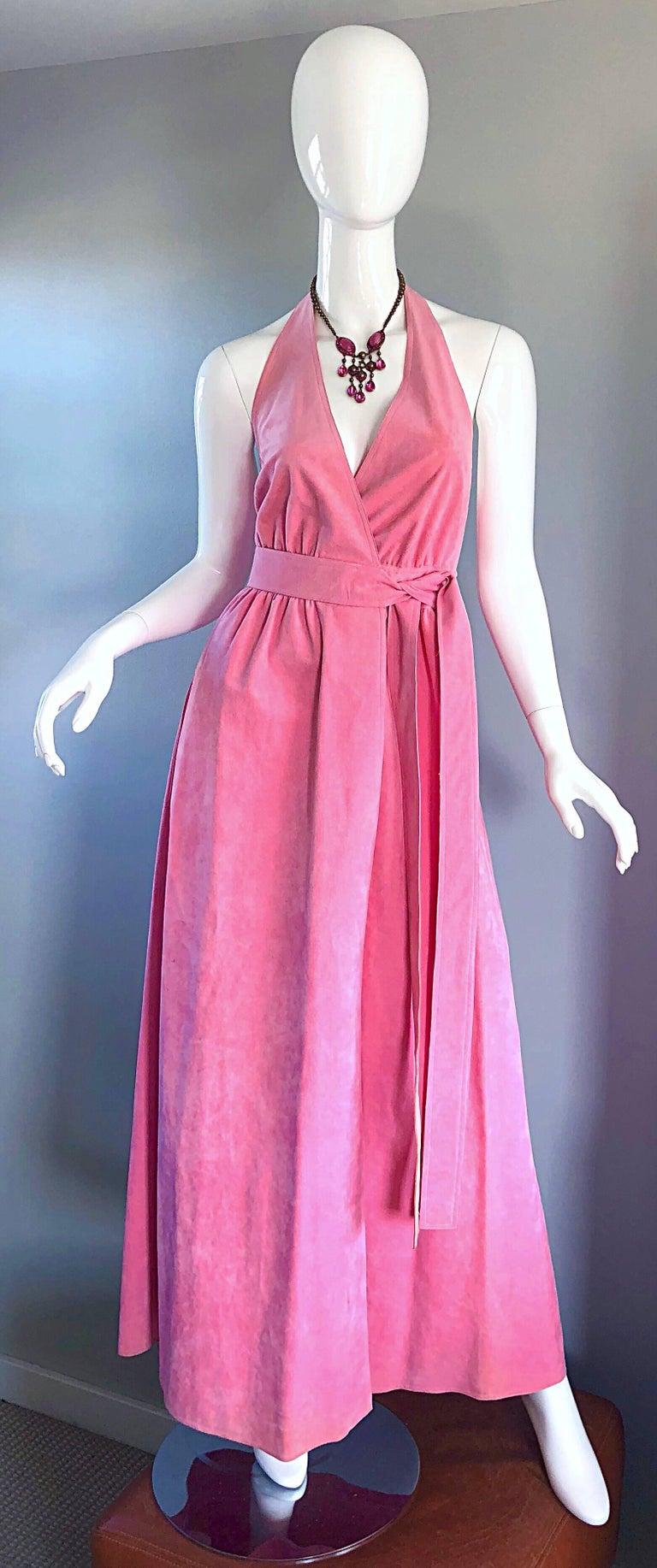 1970s Halston Bubblegum Pink Ultrasuede Vintage 70s Halter