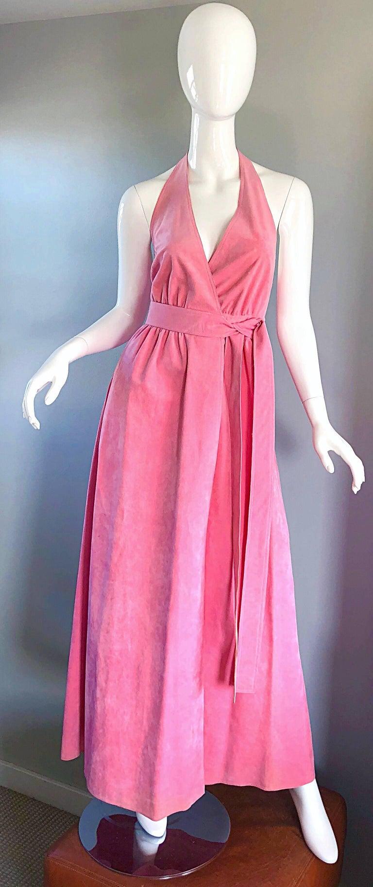 Vintage Hot Pink Halter Wrap Dress