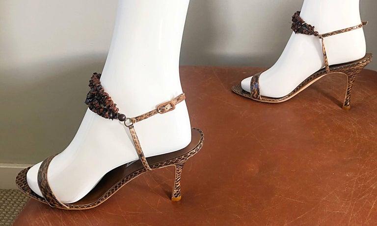 Gray New Manolo Blahnik Brown Snake Skin Python Sz 40.5 US 9.5 / 10 High Heel Sandals For Sale
