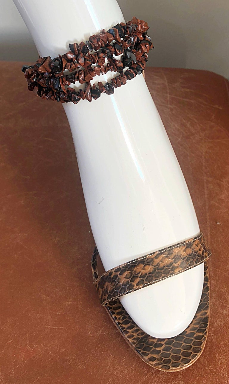 Women's New Manolo Blahnik Brown Snake Skin Python Sz 40.5 US 9.5 / 10 High Heel Sandals For Sale