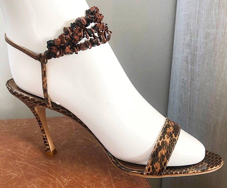 New Manolo Blahnik Brown Snake Skin Python Sz 40.5 US 9.5 / 10 High Heel Sandals For Sale 1