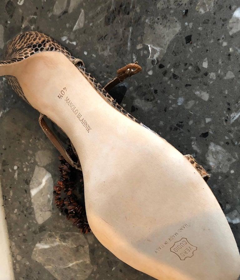 New Manolo Blahnik Brown Snake Skin Python Sz 40.5 US 9.5 / 10 High Heel Sandals For Sale 2