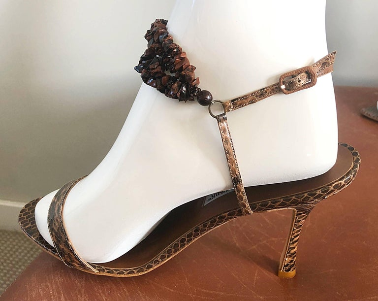 New Manolo Blahnik Brown Snake Skin Python Sz 40.5 US 9.5 / 10 High Heel Sandals For Sale 3