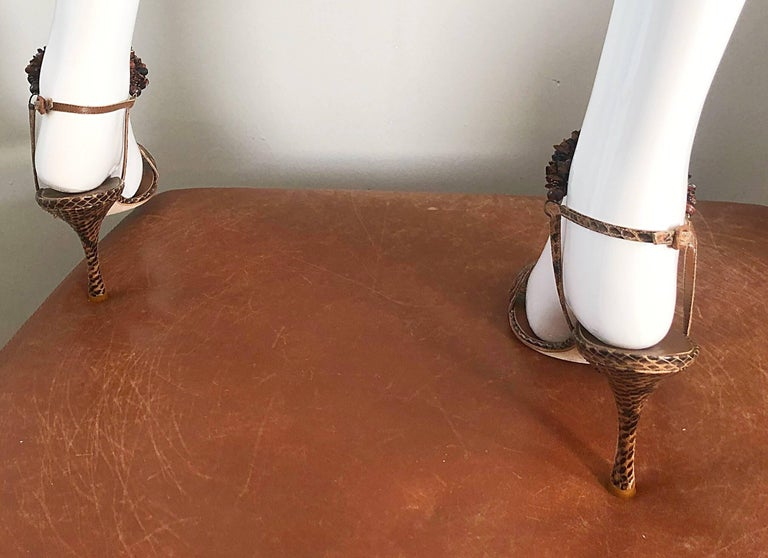 New Manolo Blahnik Brown Snake Skin Python Sz 40.5 US 9.5 / 10 High Heel Sandals For Sale 4