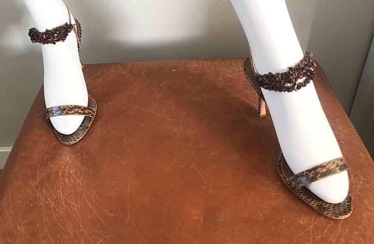 New Manolo Blahnik Brown Snake Skin Python Sz 40.5 US 9.5 / 10 High Heel Sandals For Sale 5