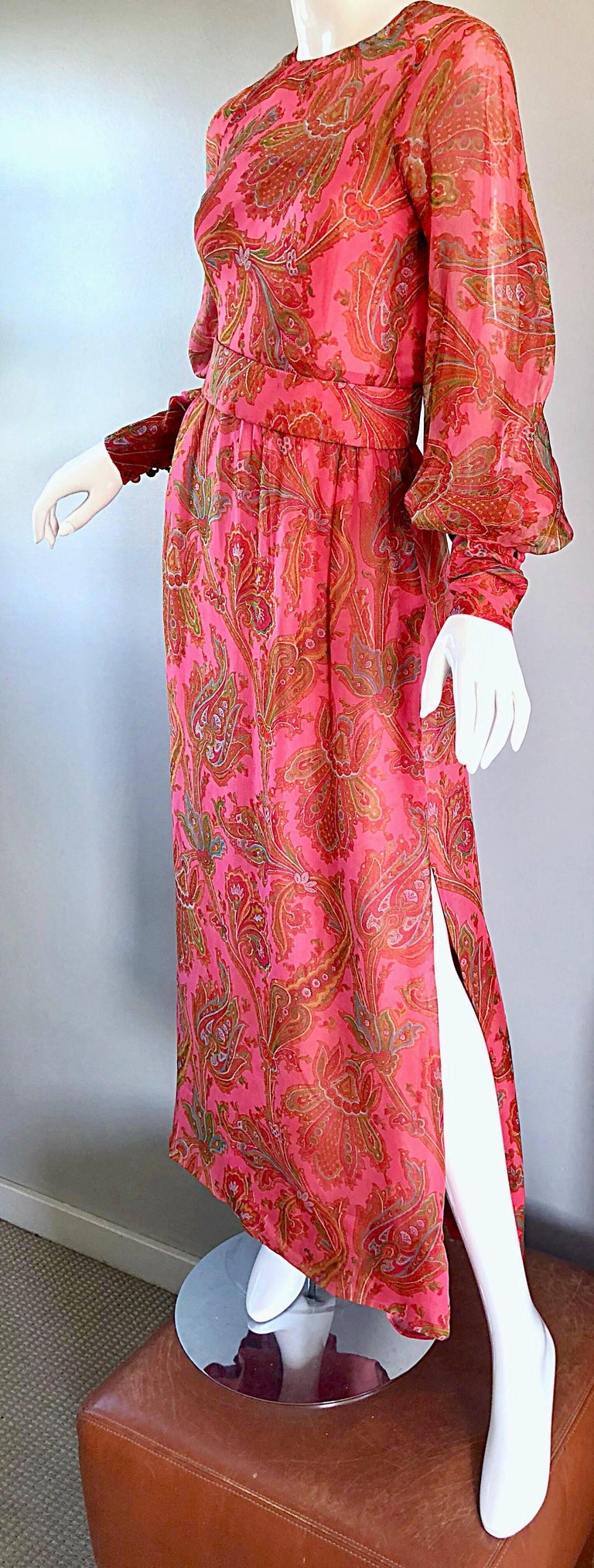 Women's Adele Simpson 1970s Pink Silk Chiffon Paisley Bishop Sleeve Vintage Maxi Dress For Sale