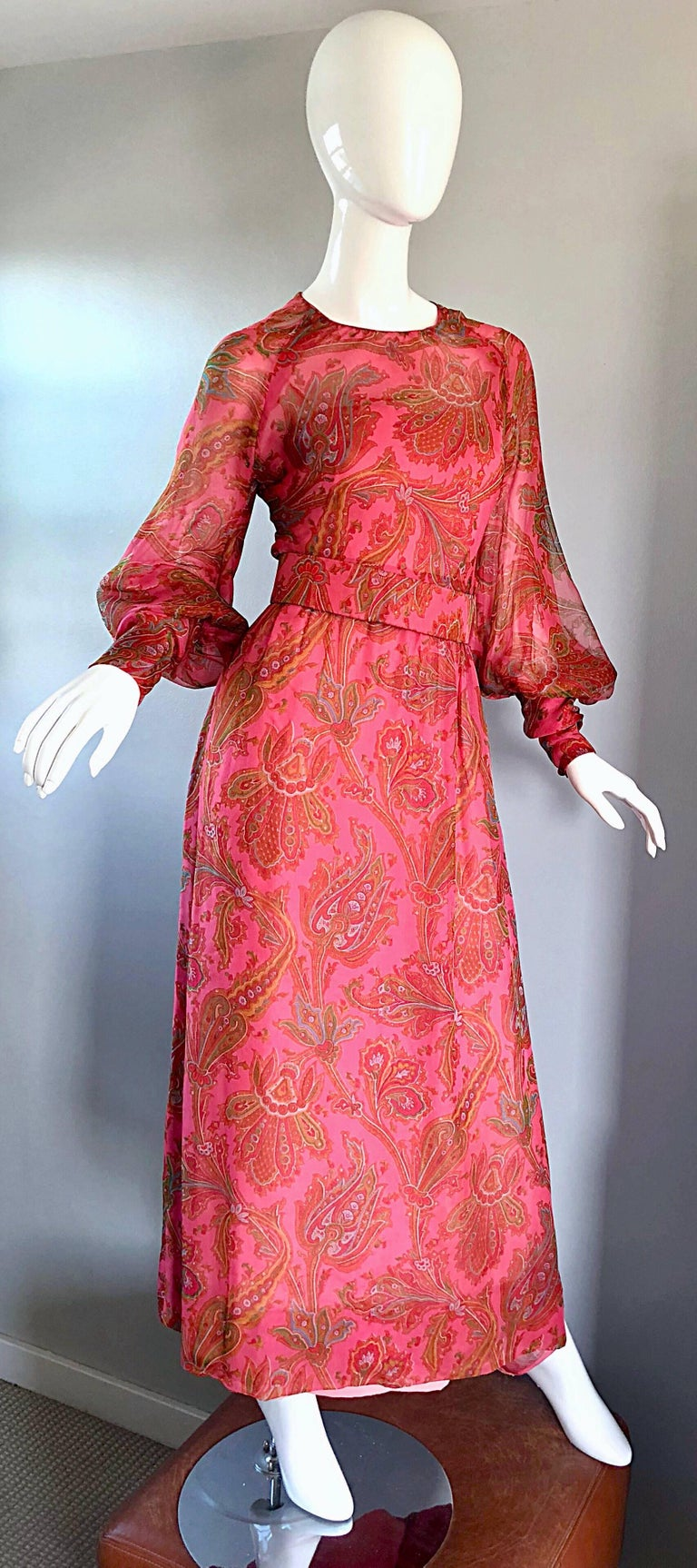 Adele Simpson 1970s Pink Silk Chiffon Paisley Bishop Sleeve Vintage Maxi Dress For Sale 1