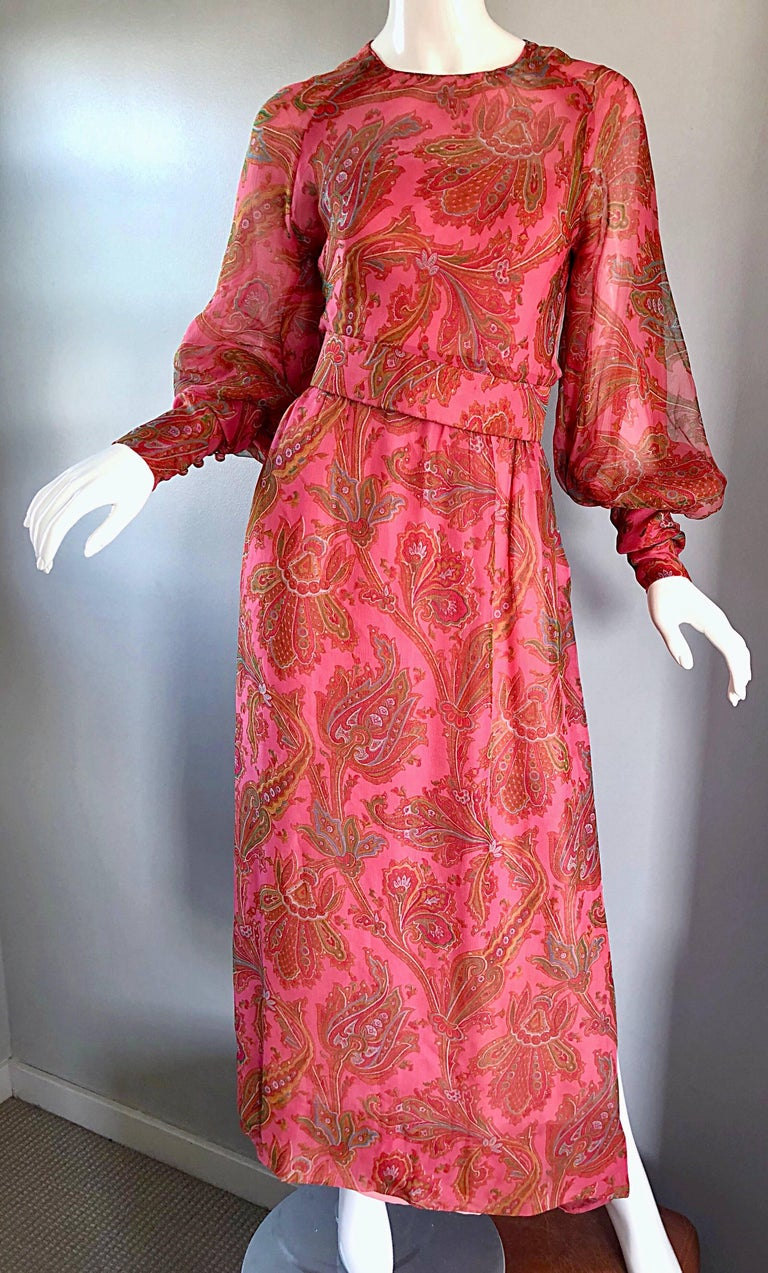 Adele Simpson 1970s Pink Silk Chiffon Paisley Bishop Sleeve Vintage Maxi Dress For Sale 2